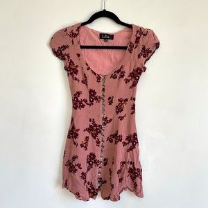 Lulus Floral Button Up Dress with Adjustable Back